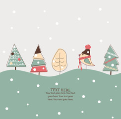 Christmas and New Year card with bird and trees