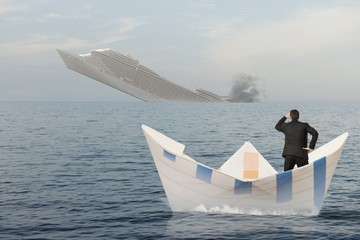 Ship is sinking into the sea