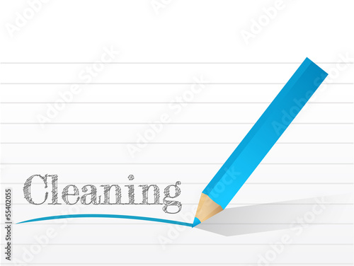 cleaning written on a piece of notepad paper.