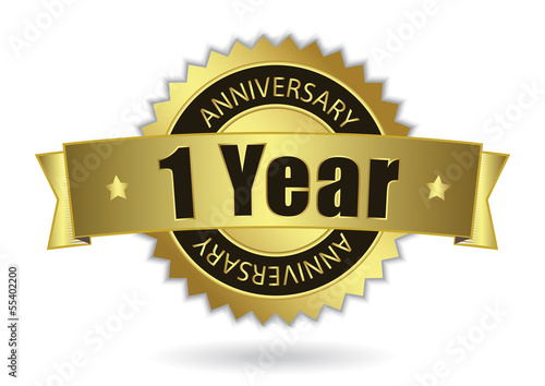 """1 Years Anniversary"" - golden stamp with ribbon, Vector EPS 10"