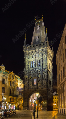 Powder Tower, a Gothic tower in Prague, Czech Republic