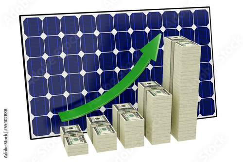 Solar Panel - Bar graphs made from Dollar banknotes