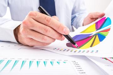 Businessman analyzing pie and column charts.