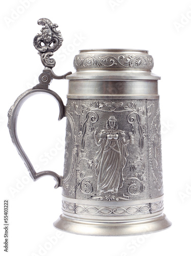 canvas print picture German beer stein made of tin