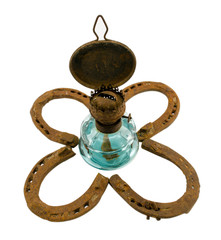 retro kerosene lamp  clover rusty horse shoe white