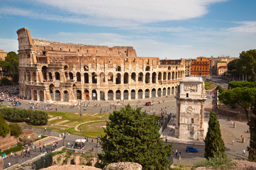 Colosseo and arc of Constantine  from Roman forum at Rome