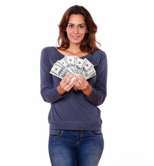 Charming woman in blue t-shirt holding cash money