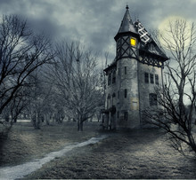 379 halloween haunted house wall murals canvas prints stickers - Halloween Wall Mural
