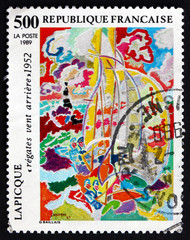 Postage stamp France 1989 Regatta, Painting by Charles Lapicque