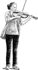 teen playing a fiddle