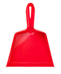 Red plastic scoop for cleaning