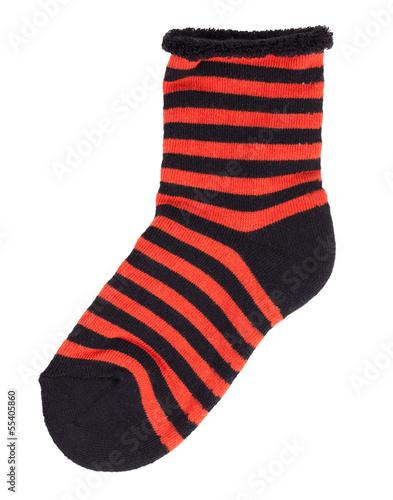 Sock in black and orange stripes