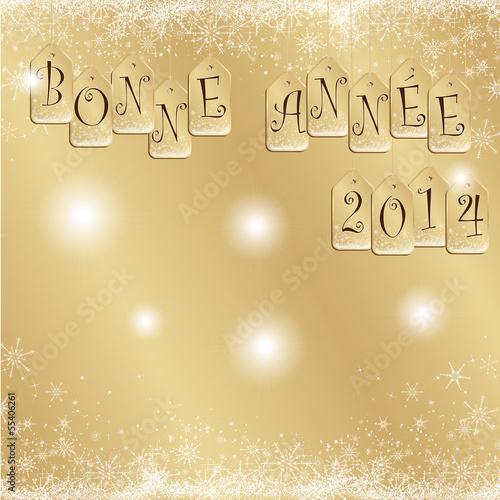 carte de voeux dorée bonne année 2014