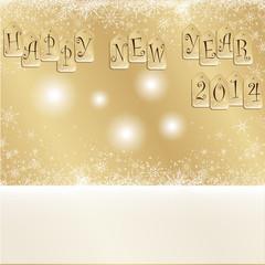 carte de voeux dorée happy new year 2014