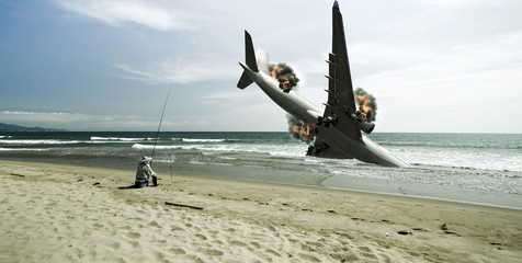 fisherman witness the airplane crashed down