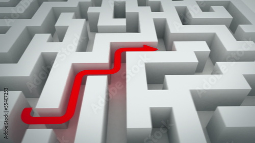 maze, two solutions. 3d animation