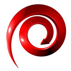 Freccia rossa a spirale discesa 3d