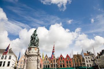 Statue in square, Bruges