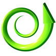 Freccia verde a spirale salita 3d