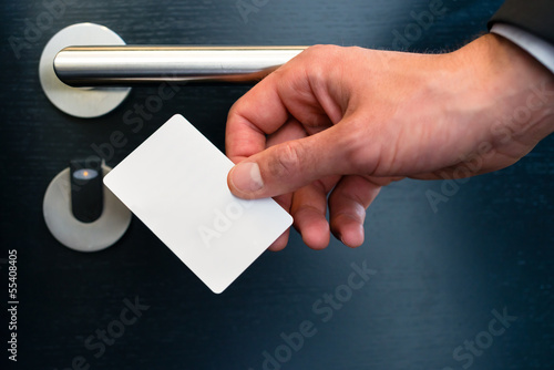 electronic keycard for room door in modern hotel - 55408405