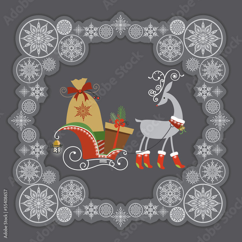 Cute Christmas reindeer in red boots with gifts.