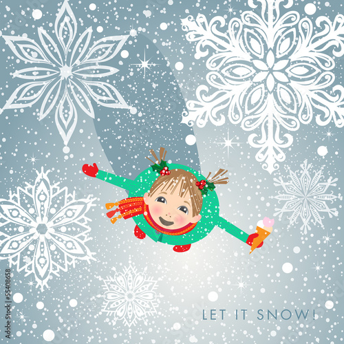 Little girl welcomes first snow. Holiday card.
