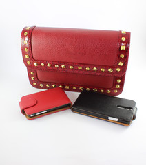 Red and black phone and red bag