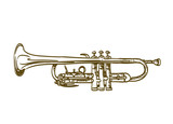 Fototapety hand drawn trumpet on white