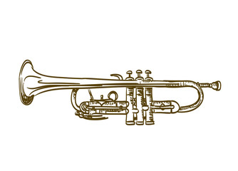 hand drawn trumpet on white