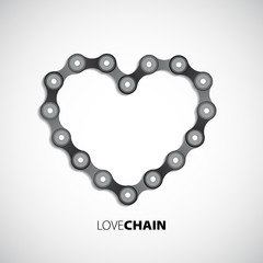 Bicycle chain love heart