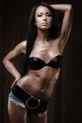 Fit gorgeous brunette