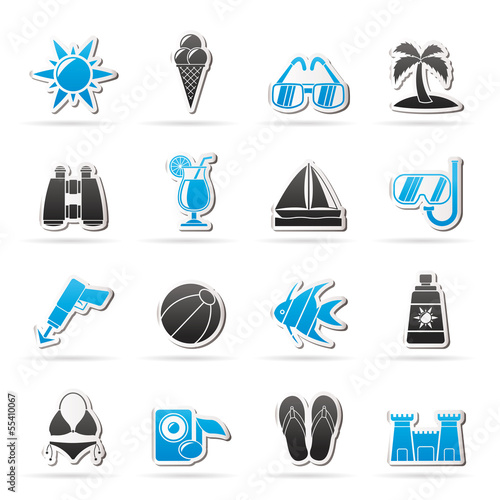 Tropic, Beaches and summer icons - vector icon set