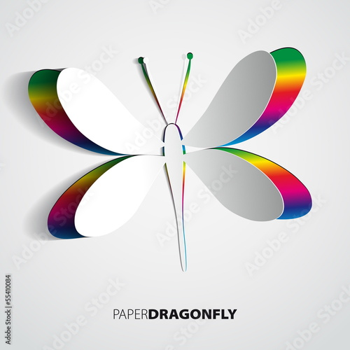 Greeting card with paper rainbow dragonfly - vector