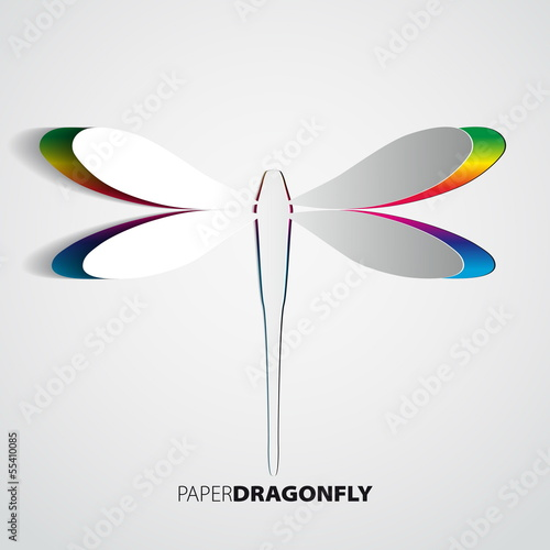 Greeting card with paper rainbow dragonfly - vector illustration