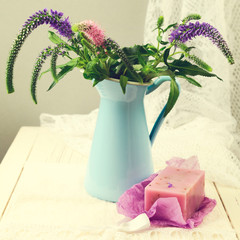 Flower bouquet with handmade lavender soap