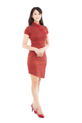 full length chinese woman with cheongsam