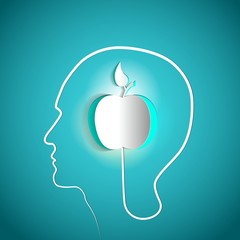 Human head with paper apple - symbol Freedom and creativit