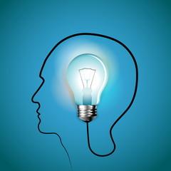 Human head with idea bulb