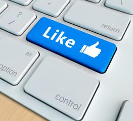 Social media concept - Like on computer keyboard