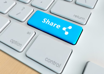Social media concept - Share on computer keyboard