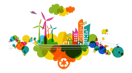 Go green transparent colorful city.