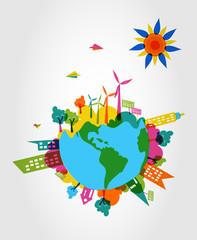 Colorful world eco friendly concept.