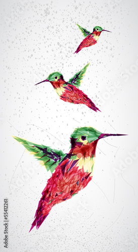 Staande foto Geometrische dieren Humming bird geometric illustration.