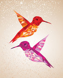 Colorful humming birds art background illustration.