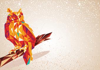 Colorful Owl bird triangle art background illustration