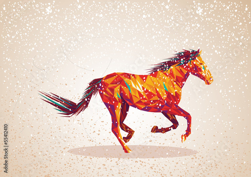 Poster Geometrische dieren Colorful abstract triangle art horse background