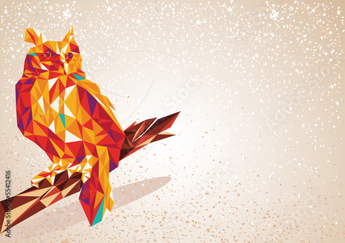 Staande foto Geometrische dieren Colorful Owl bird triangle art background illustration