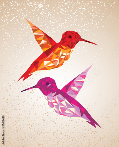 Staande foto Geometrische dieren Colorful humming birds art background illustration.