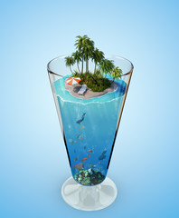 Tropical island in the glass
