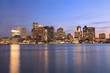 Boston skyline and Inner Harbor at dusk, USA